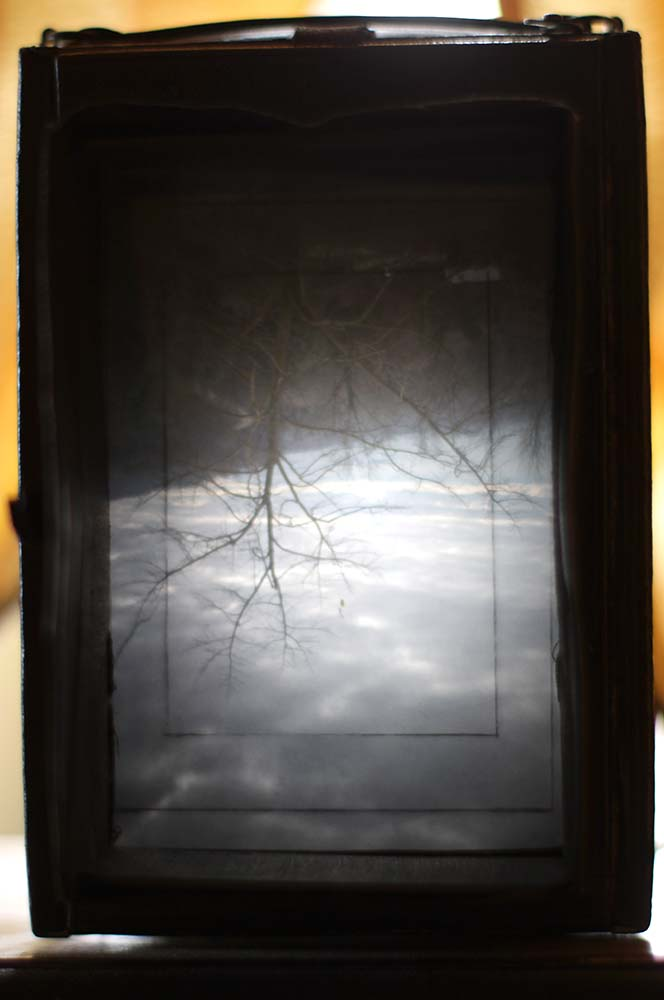 L'immagine capovolta sul vetro smerigliato.